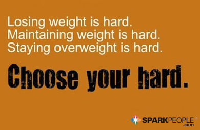 Motivational Quote - Losing weight is hard. Maintaining weight is hard. Staying overweight is hard. Choose your hard.