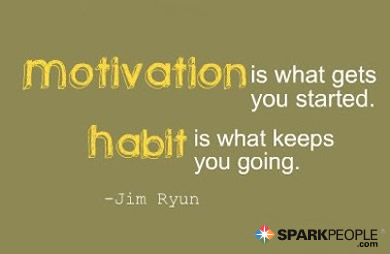 Motivational Quote - Motivation is what gets you started. Habit is what keeps you going.