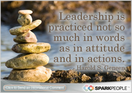 Motivational Quote - Leadership is practiced not so much in words as in attitude and in actions.