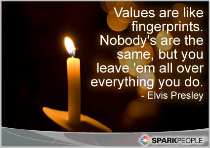 Motivational Quote - Values are like fingerprints. Nobody�s are the same, but you leave �em all over everything you do.