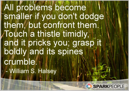 Motivational Quote - All problems become smaller if you don't dodge them, but confront them.  Touch a thistle timidly, and it pricks you; grasp it boldly and its spines crumble.