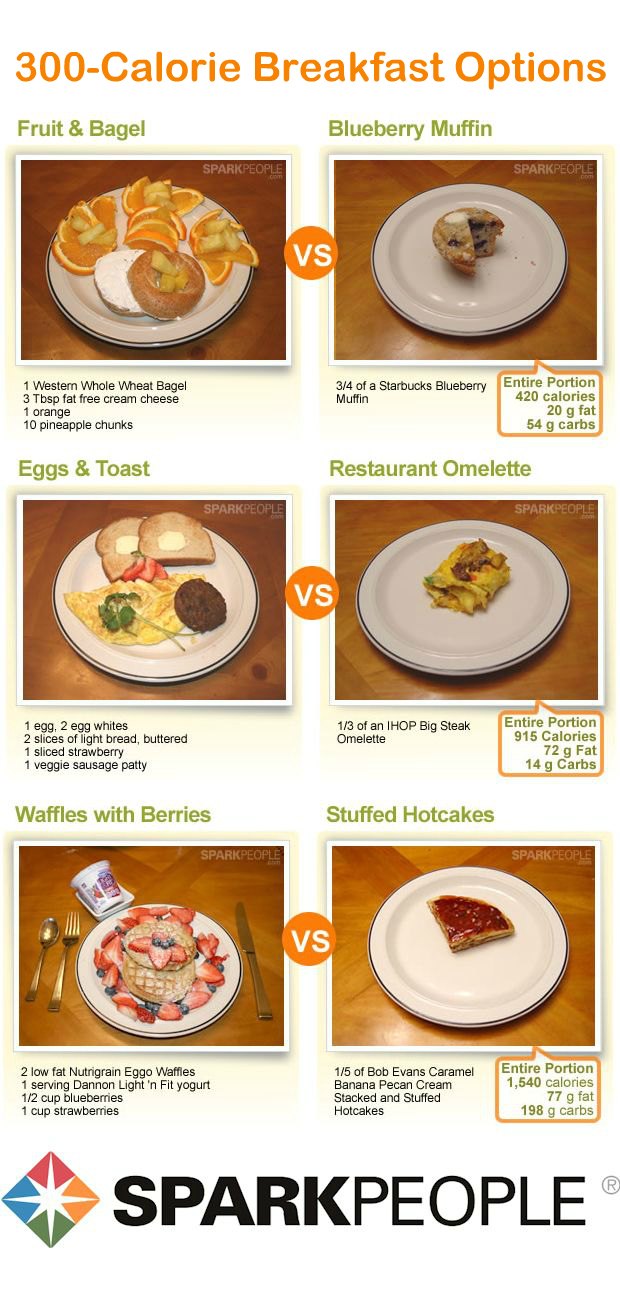 What does 300 calories really look like sparkpeople you could only eat a fraction of the comparable restaurant meals right column for the same number of calories get more healthy breakfast ideas here forumfinder Images