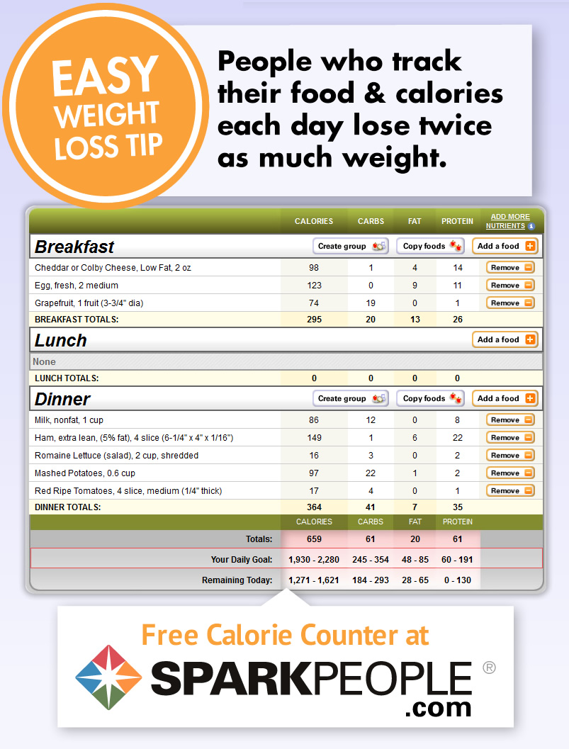 picture about Printable Calorie Chart identified as Absolutely free Calorie Counter SparkPeople