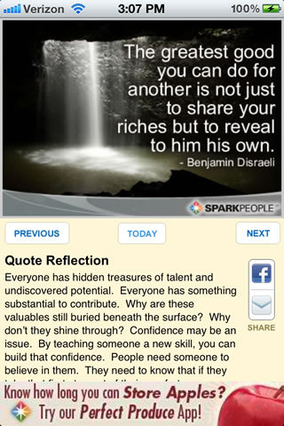 inspirational quote of the day app sparkpeople