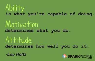 Motivational Quote - Ability is what you're capable of doing. Motivation determines what you do. Attitude determines how well you do it.