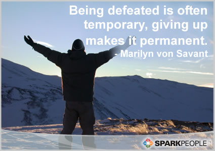 Motivational Quote - Being defeated is often temporary, giving up makes it permanent.